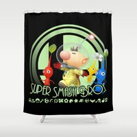 super smash bros Shower Curtains featuring Olimar - Super Smash Bros. by Donkey Inferno