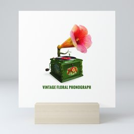 ORGANIC INVENTIONS SERIES: Vintage Floral Phonograph Mini Art Print