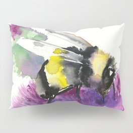 Bumblebee and Thistle Flower, honey bee floral Pillow Sham