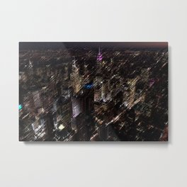 Midtown Manhattan Night Scene Skyline Landscape by Jeanpaul Ferro Metal Print