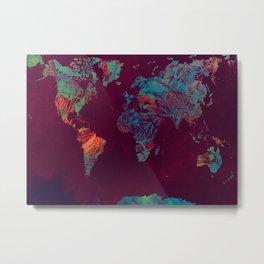 world map blue red #map #worldmap Metal Print