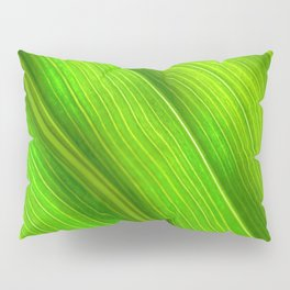 Flowing veins of Nature - Bright Lime Green Leaf Abstract Pillow Sham