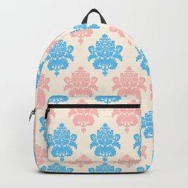 Coral blue ivory vintage chic floral damask pattern Backpack
