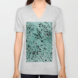 Modern abstract teal black watercolor paint splatters Unisex V-Neck