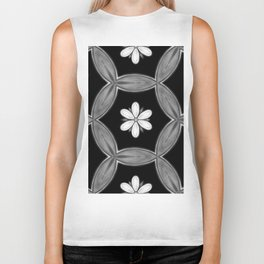 black and white hippie flower pattern Biker Tank