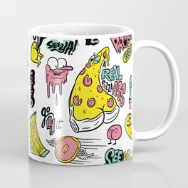 Weirdo Pizza Donut Sword Skull Pattern Coffee Mug