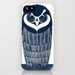 Owl Art Nouveau Style Blue iPhone Case