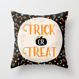 Trick or Treat Halloween Quote Throw Pillow