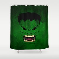 monster inc Shower Curtains featuring Monster Green by Inara