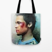 brad pitt Tote Bags featuring Brad Pitt 'Tyler Durden' The Fight Club by Vlad Rodriguez
