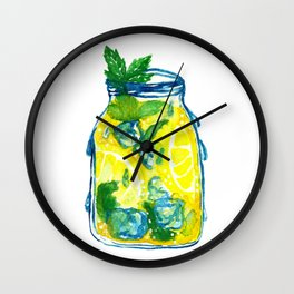 Watercolor - Iced Lemon Mint Tea Wall Clock