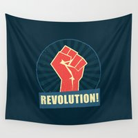 revolution Wall Tapestries featuring REVOLUTION! by Word Quirk