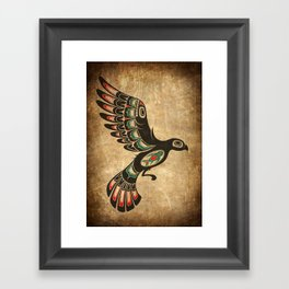 Red and Green Haida Spirit Flying Bird Framed Art Print