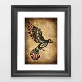 Red and Green Haida Spirit Flying Bird Framed Art Print