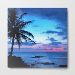Tropical Island Beach Ocean Pink Blue Sunset Photo Metal Print
