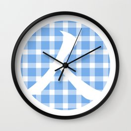 Plaid Sky Blue Person Wall Clock