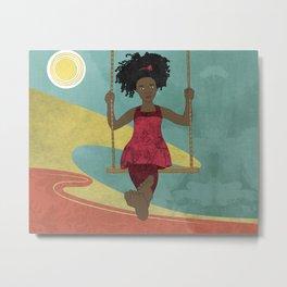 Barefoot Girl on Swing Metal Print