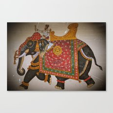 Elephant and mahout (Mewar style) Canvas Print