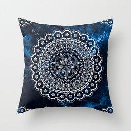 Moroccan Mandala on blue ink Throw Pillow