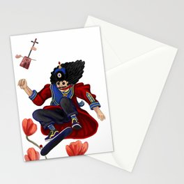 Mongolian man on skate Stationery Cards