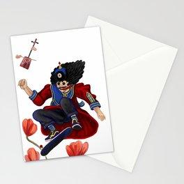 Mongolian man on skate Stationery Cards