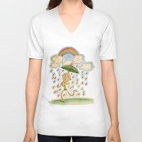 rain V-neck T-shirts featuring Rain by José Luis Guerrero