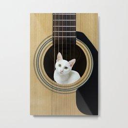 White cat in Guitar music instrument Metal Print