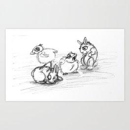 Bunnies and Chicks Art Print