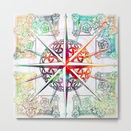 Travellers Spirit Colourful Celtic Compass Design Metal Print