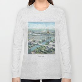 Paris art print Paris Decor office decoration vintage decor eiffel tower of Paris Long Sleeve T-shirt