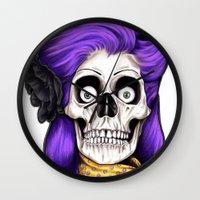 rockabilly Wall Clocks featuring Rockabilly Skull by Mark Matlock