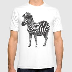 Zebra Cowboy MEDIUM White Mens Fitted Tee
