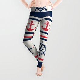 Blue Pink Sea Navy Pattern Leggings