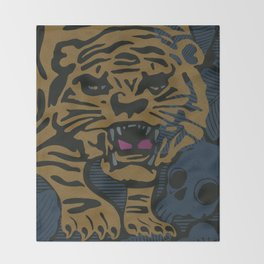 Golden Tiger Throw Blanket