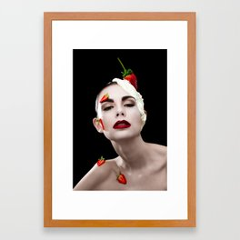 Strawberries & Cream Framed Art Print