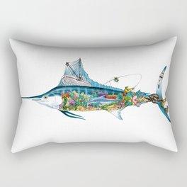 Colored Fisherman Marlin Rectangular Pillow