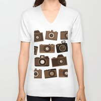 cameras V-neck T-shirts featuring cameras (white) by vitamin