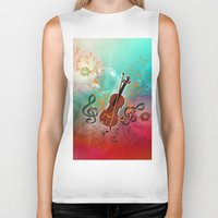 violin Biker Tanks featuring Violin with violin bow by nicky2342