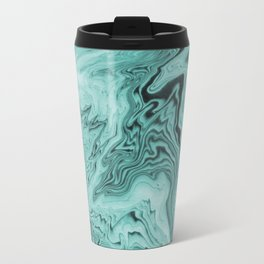 Marble sumiagashi turquoise marbling japanese marbled abstract pattern Travel Mug