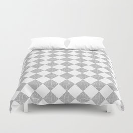 Rustic Farmhouse Checkerboard in Gray and White Duvet Cover