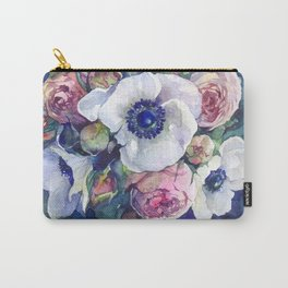 Watercolor anemone roses flowers Carry-All Pouch