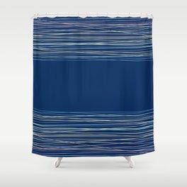 Blue thread , abstract Shower Curtain