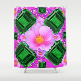 May Green Emerald Gems & Pink Roses Fuchsia Art Shower Curtain