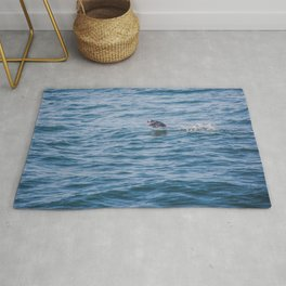 Cute Puffin takes off from the water Rug