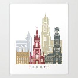 Bruges skyline poster Art Print