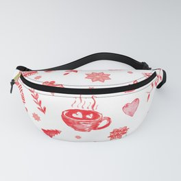 Cozy Hygge Elements in Red + White Fanny Pack
