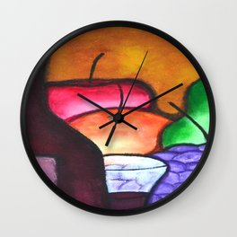 Fruits And Wine Still Life Painting By Saribelle Wall Clock