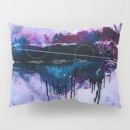Dawn, pink and fushia black and blue acrylic abstract artwork Pillow Sham