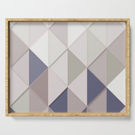 abstract geometric pattern neutral tones Serving Tray