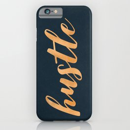 Hustle Text Copper Bronze Gold and Navy iPhone Case